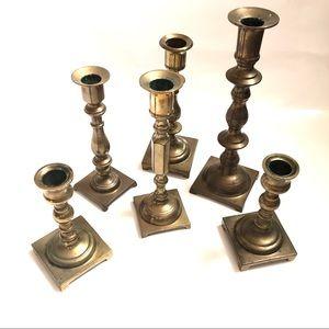 6 Brass Candlesticks, Mix & Match Collection
